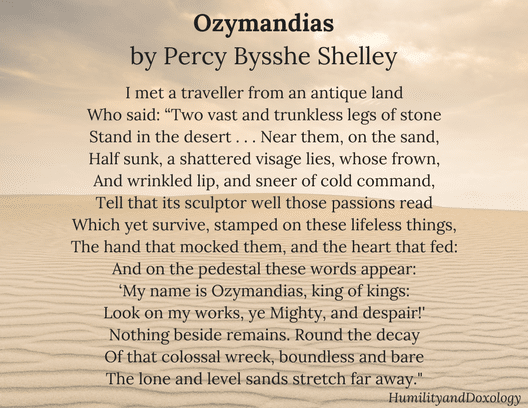 Ozymandias, Percy Bysshe Shelley, National Poetry Month, Poem in your Pocket
