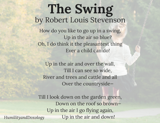 The Swing, by Robert Louis Stevenson, National Poetry Month, Poem in your pocket