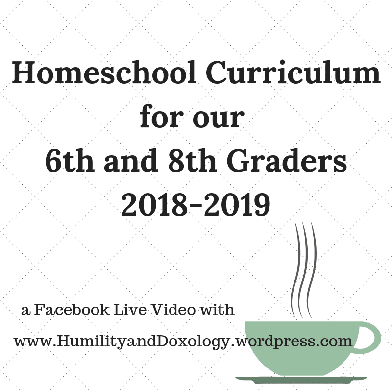 Homeschool Curriculum 6th and 8th grade middle school
