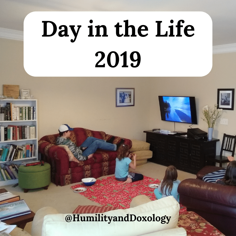 homeschool Day in the Life 2019 documentaries at lunch