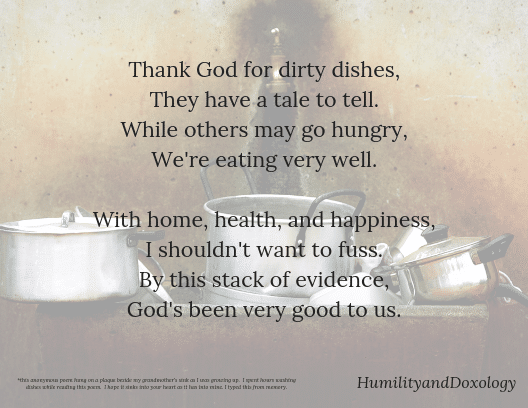 Thank God for Dirty Dishes Poem