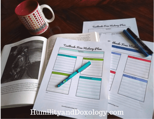 Textbook Free History Planning Pages