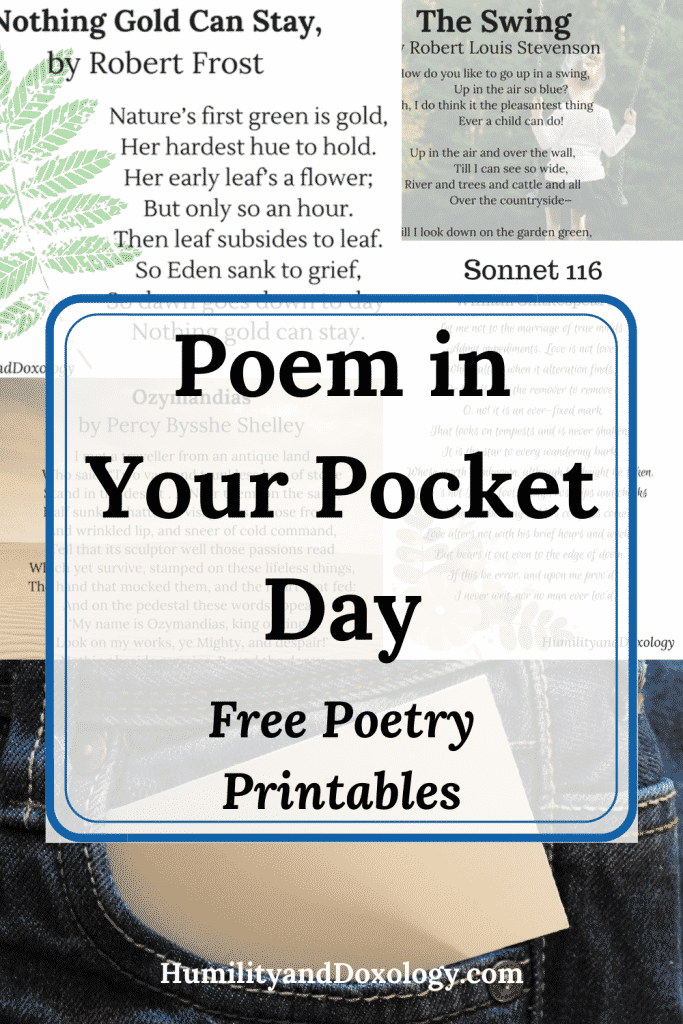 Poem in your Pocket Day: Free Poetry Printables