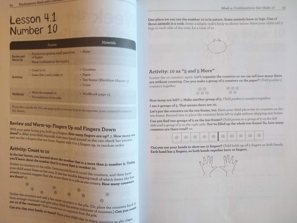 Kindergarten Math with Confidence lesson page spread sample