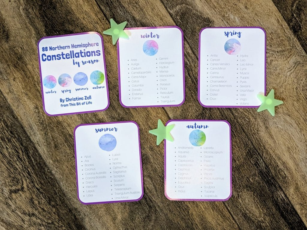 constellations free printable homeschool science outer space astronomy